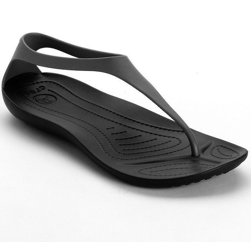 NEW-Womens CROCS Sexi Flip Flop Sandals Shoes-Size 6-8-Black Slip  On-Casual-NWT  Crocs  FlipFlops d875e96fa