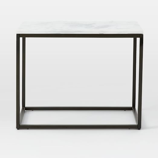 Box Frame Narrow Side Table Marble Antique Bronze Narrow Side Table Glass Side Tables Table
