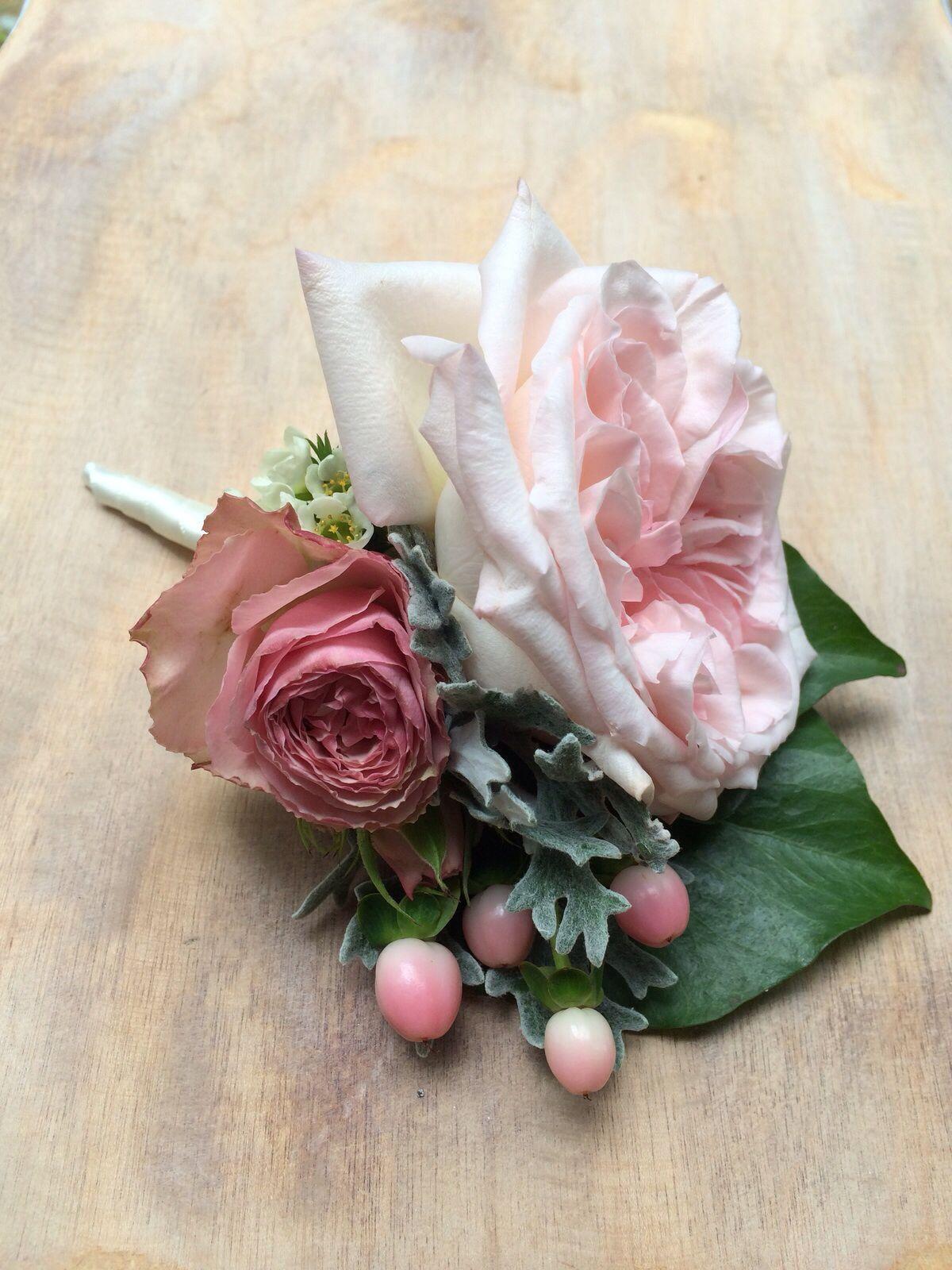 Gorgeous dusky pink grooms buttonhole.