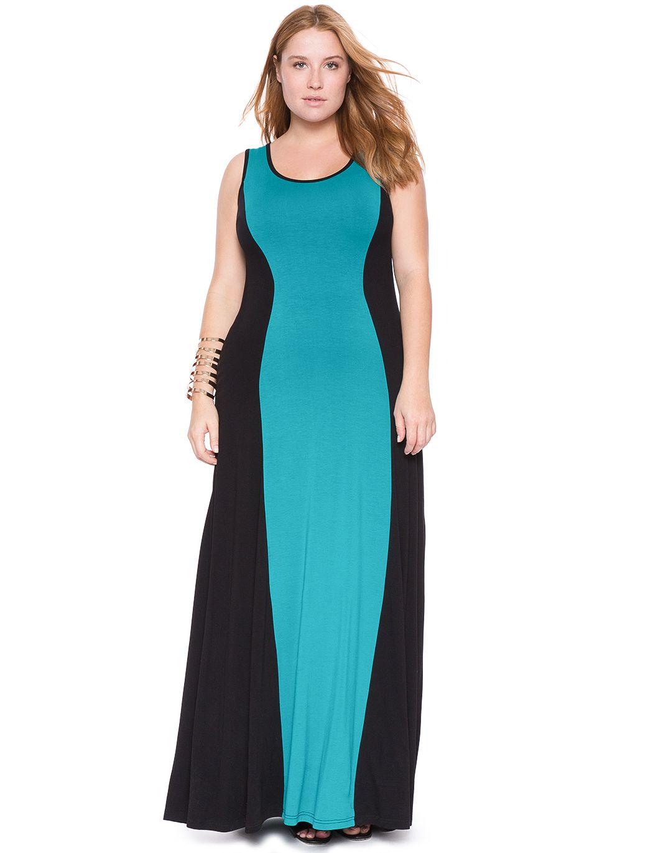 Colorblock maxi dress womenus plus size dresses eloquii