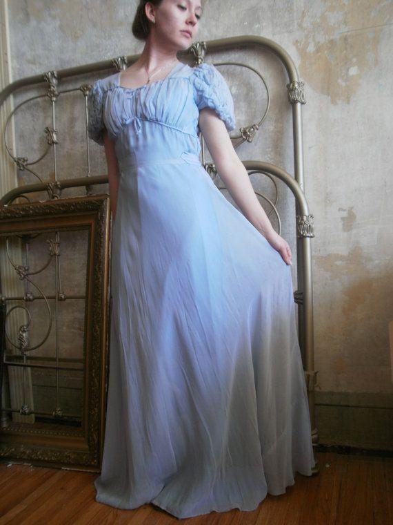 Vintage 1930s Pale Blue Silk Empire Waist Starlet Great Gatsby ...