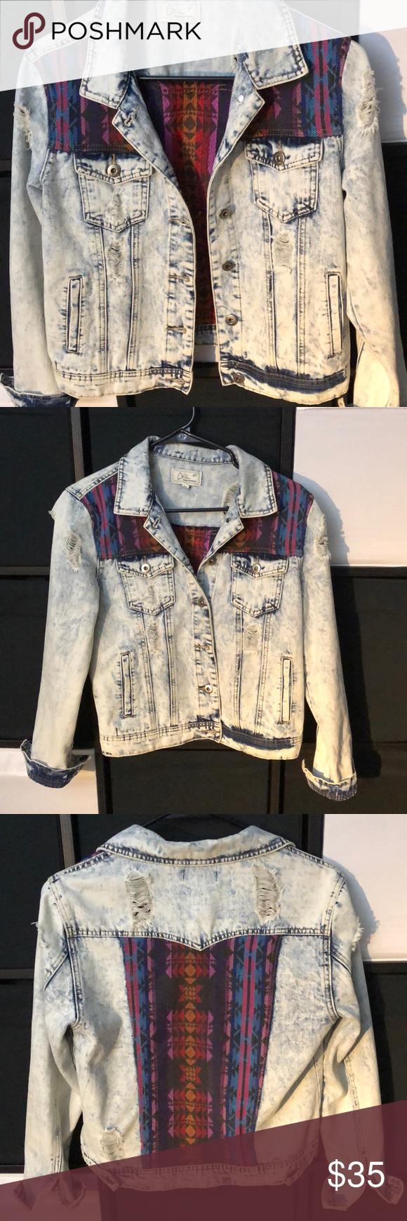 Chi Ole Denim Architect Jean Jacket Chi Ole Distressed Denim Jacket With Aztec Inspired Overlay 100 Cotton Facto Jackets Distressed Denim Jacket Jean Jacket [ 1740 x 580 Pixel ]