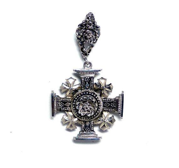 Jerusalem Silver Cross Brooch - Sterling Silver 900 Cannetille Vintage Maltese Cross