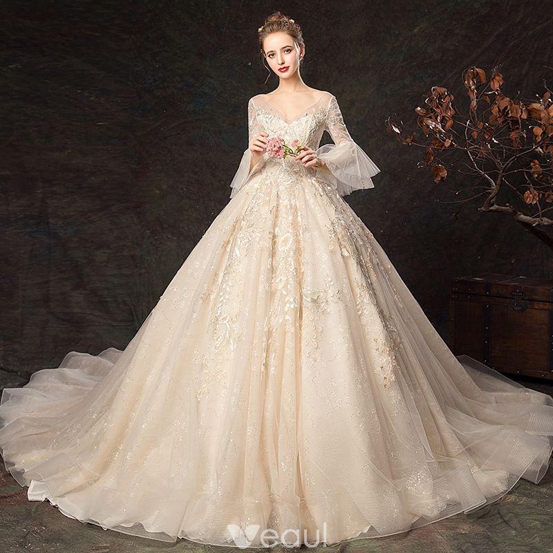 Elegant Champagne Wedding Dresses 2019 Ball Gown VNeck