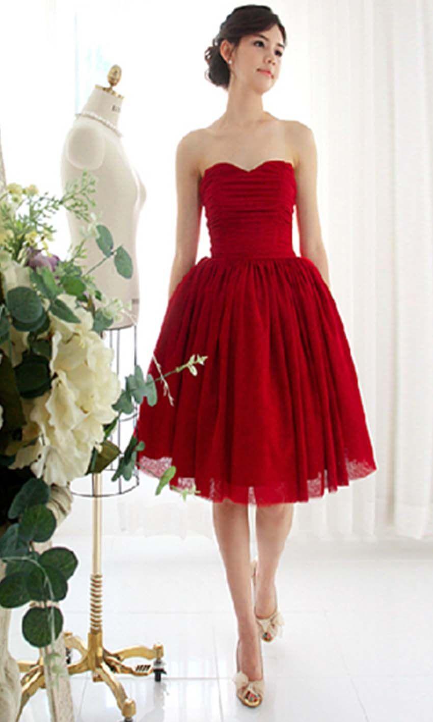 Red sweetheart short bridesmaid richias wedding pinterest red sweetheart short bridesmaid ombrellifo Images