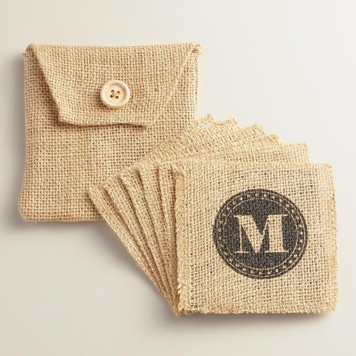 """M"" Monogram Jute Coasters, Set of 6"