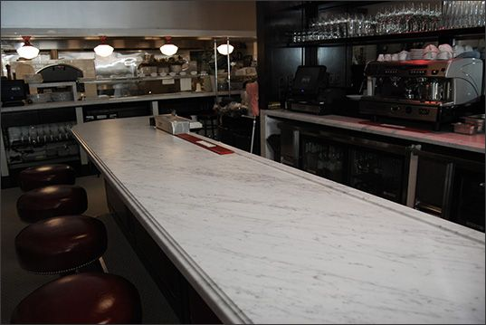 Carrera Marble Top For Bar   To Be Framed In Dark Wood To Match Tables