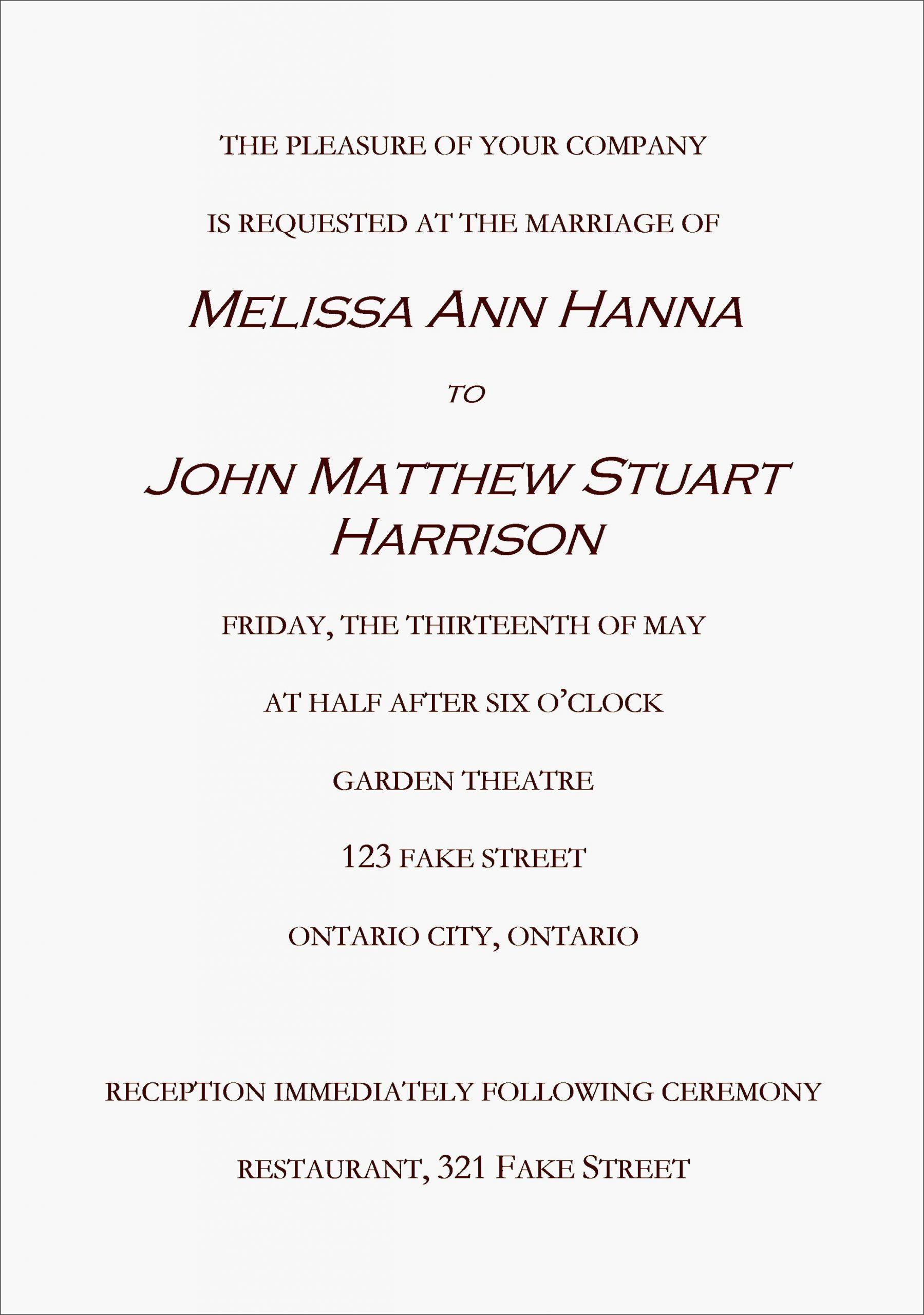 Casual Reception Invitation Wording Invitation Letter