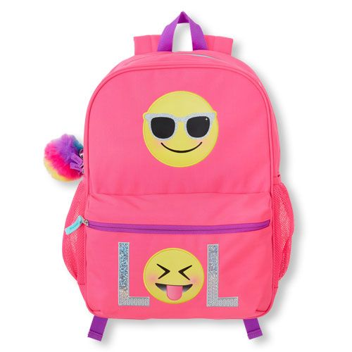e4995afdfd25 Girls Embellished  Lol  Mood Emoji Neon Backpack - Pink - The Children s  Place