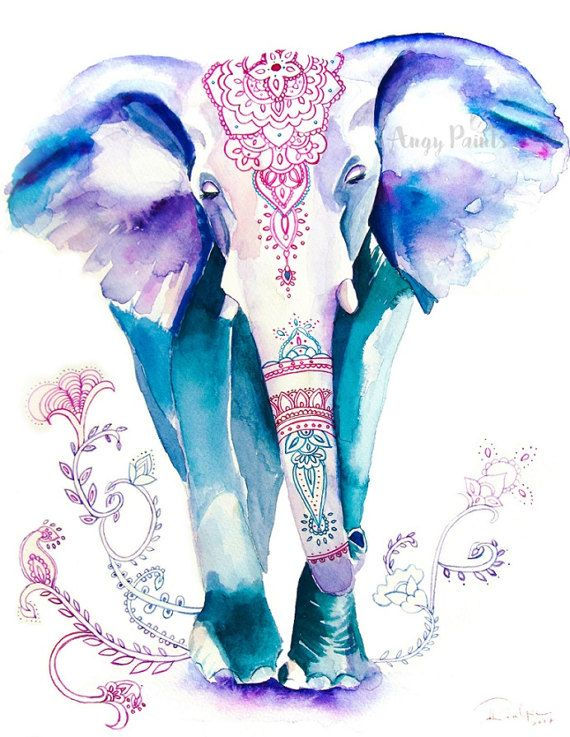 Elephant Painting Animal Watercolor Animal Print Elephant