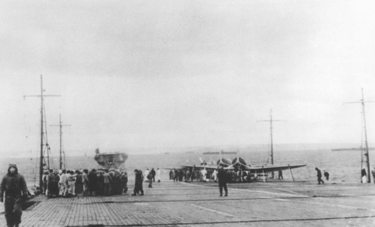 """The six aircraft carriers of the Kido Butai (""""Mobile Force"""" - the Imperial Japanese Navy's main carrier force) prior to the attack on Pearl Harbor, November 1941. Photograph taken from the deck of Akagi, the rest of the carriers, from left to right, are: Kaga, Shokaku, Zuikaku, Hiryu and Soryu."""
