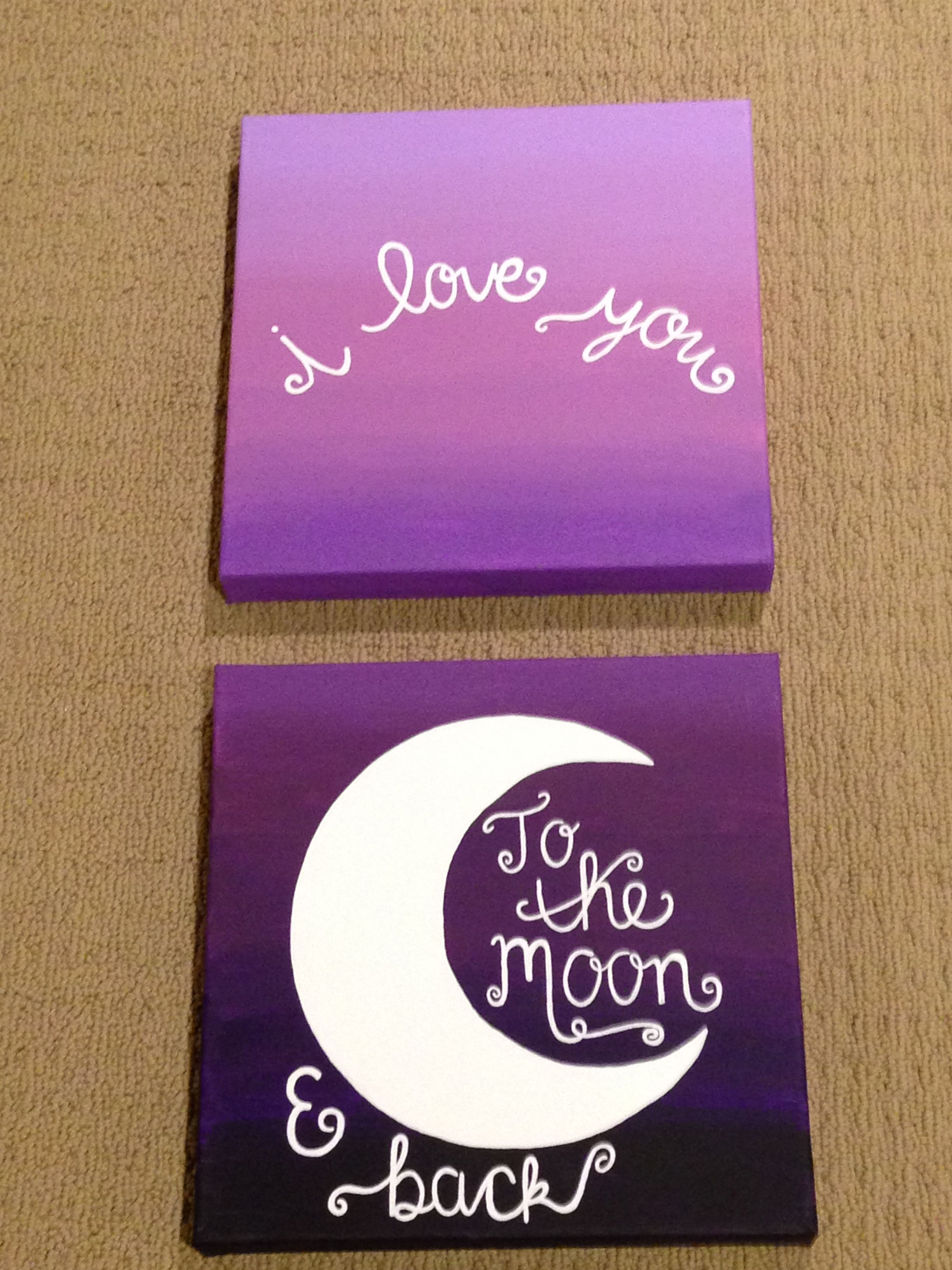 Diy Canvas Painting I Love You To The Moon Back Canvas Painting Purple Ombre
