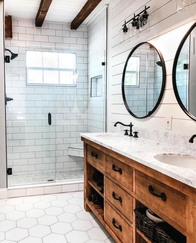 I Like The Wood Color Would Love To Redo Boys Bathroom Similar To Poc Love Modern Bathroom Remodel Farmhouse Bathroom Decor Diy Bathroom Remodel