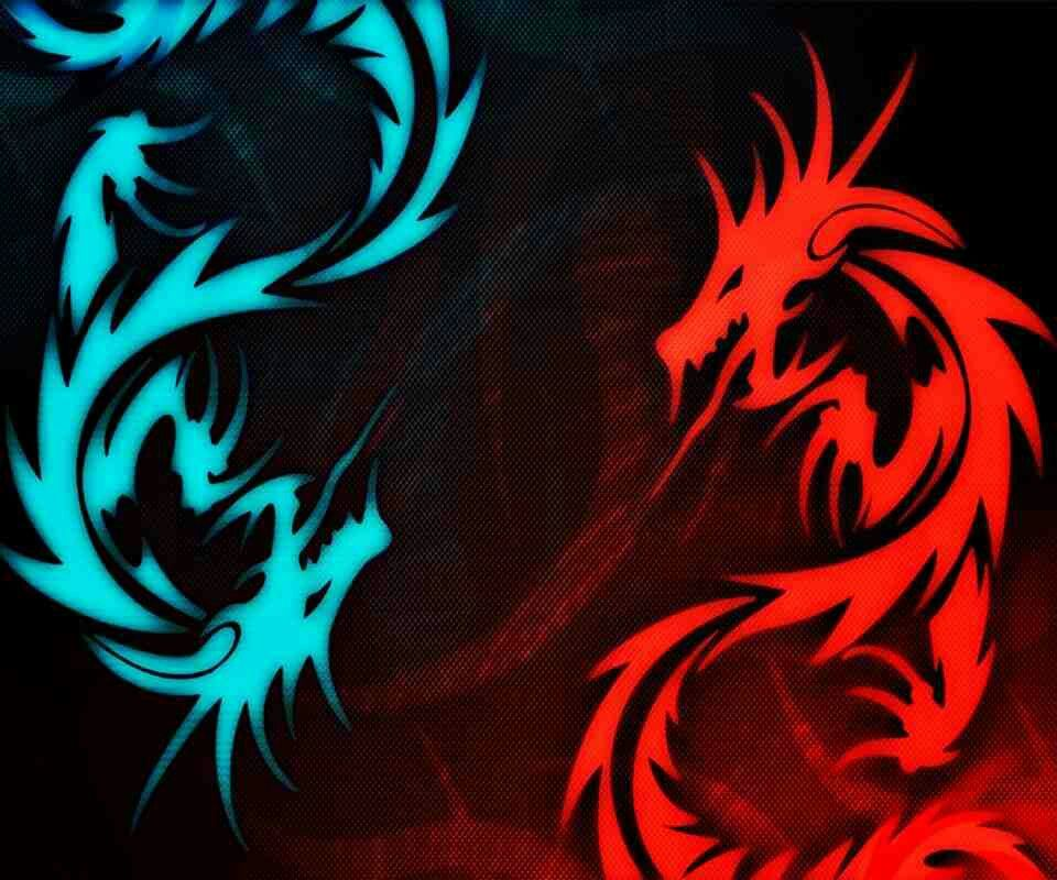Blue And Red Dragons In 2019 Dragon Wallpaper Iphone