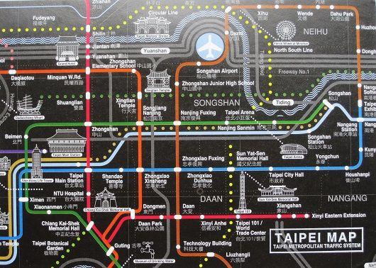 Taipei MRT map Taiwan map postcards