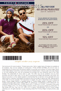 picture relating to Tommy Hilfiger Outlet Coupon Printable named Cost-free Printable Discount coupons: Tommy Hilfiger Coupon codes sizzling discount coupons