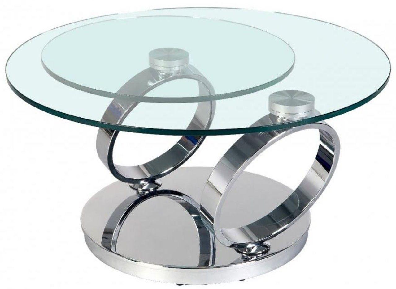 table basse pivotante verre transparent