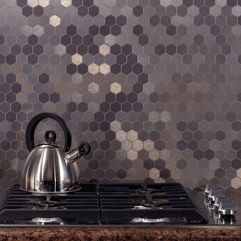 Amazon aspect peel and stick backsplash 12inx4in honeycomb aspect honeycomb stainless matted metal tile 17601396 overstock big discounts on backsplash tiles mobile dailygadgetfo Choice Image