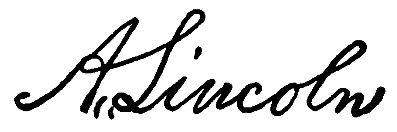 A facsimile signature of President Abraham Lincoln, penned March 18, 1865.  Taken from p. 169 of San Juan Capistrano Mission by Engelhardt, Zephyrin (1922).  #juniper300 #latinoheritage #majorca2013