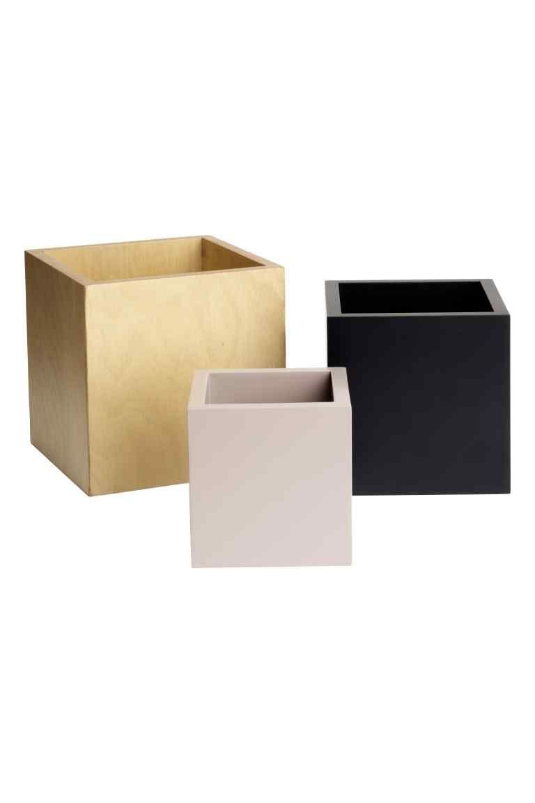 14,99€ - Caixas de madeira, pack de 3 | H&M
