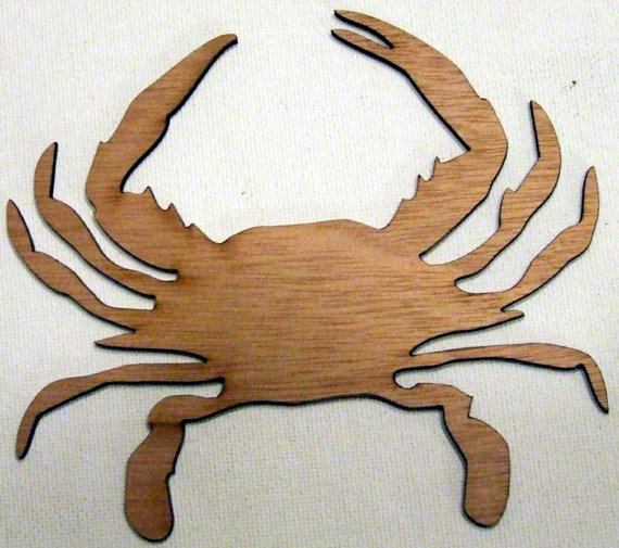 INTARSIA WOOD CRAB MAGNET handsome handcrafted wood mosaic