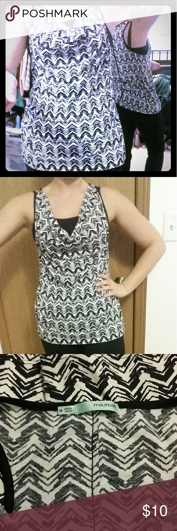 Black and white tank Cute dressy tank from maurices. Size medium. Great condition. Smoke free and pet free house. Maurices Tops Tank Tops