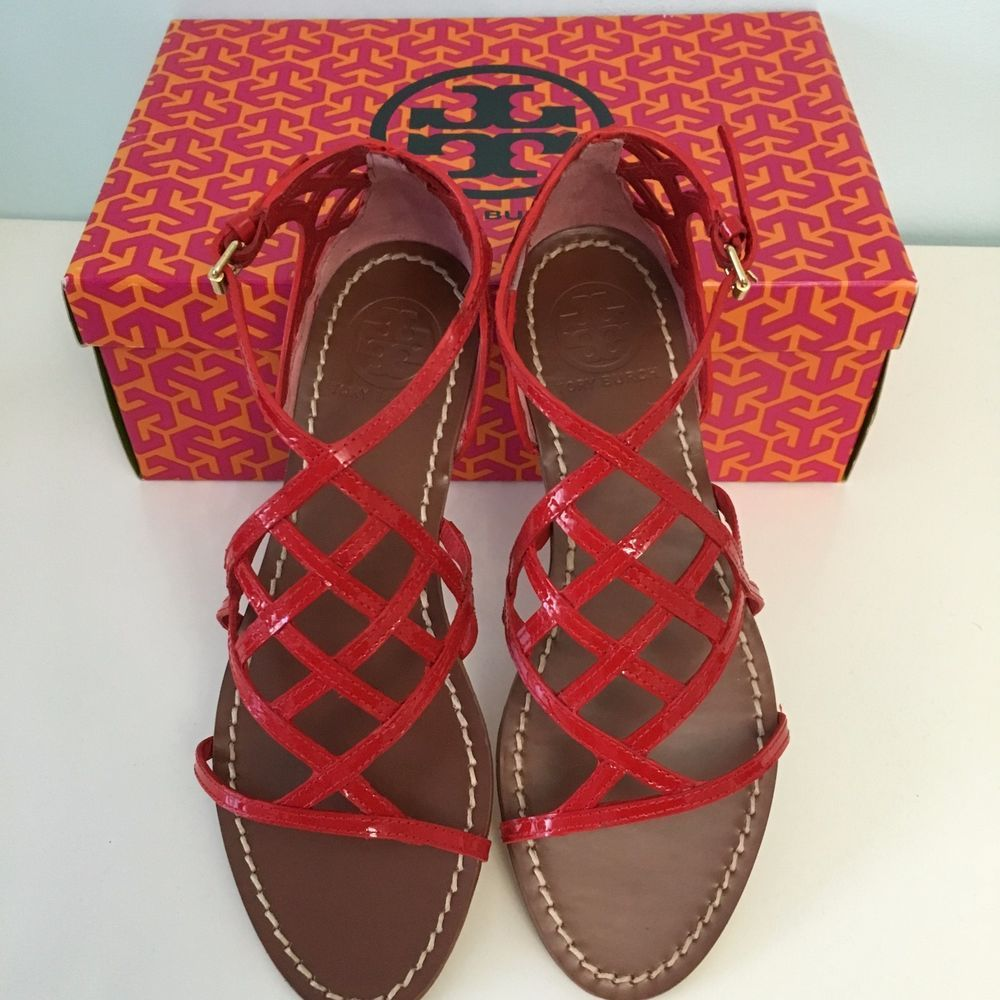dd22cee6d873a5 NIB Tory Burch Amalie Patent Leather Flat Cage Sandal SIZE 7 RED  ToryBurch   Strappy  Casual