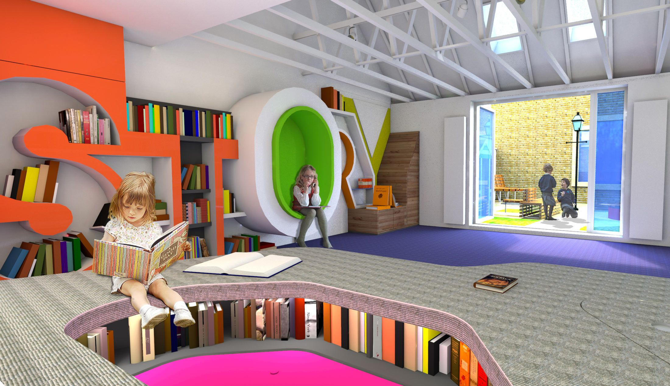Chadwick Dryer Clarke Studio Kids Library School Library Design School Interior