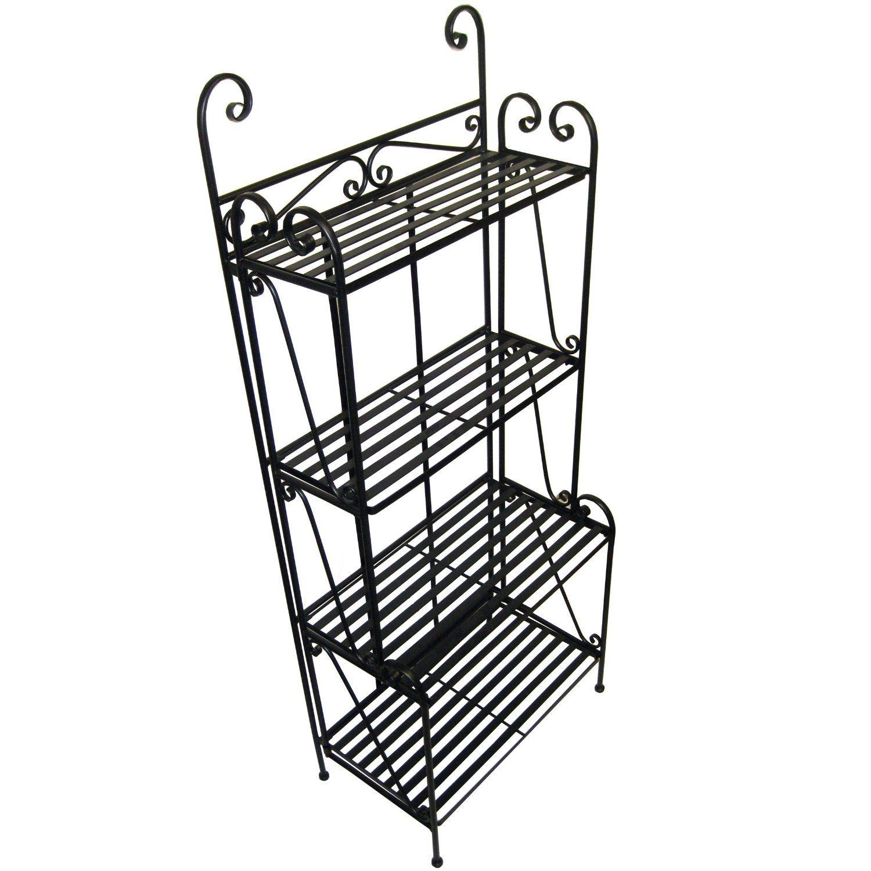 Amazon Com Folding Piper Bakers Rack Four Shelves Black Free