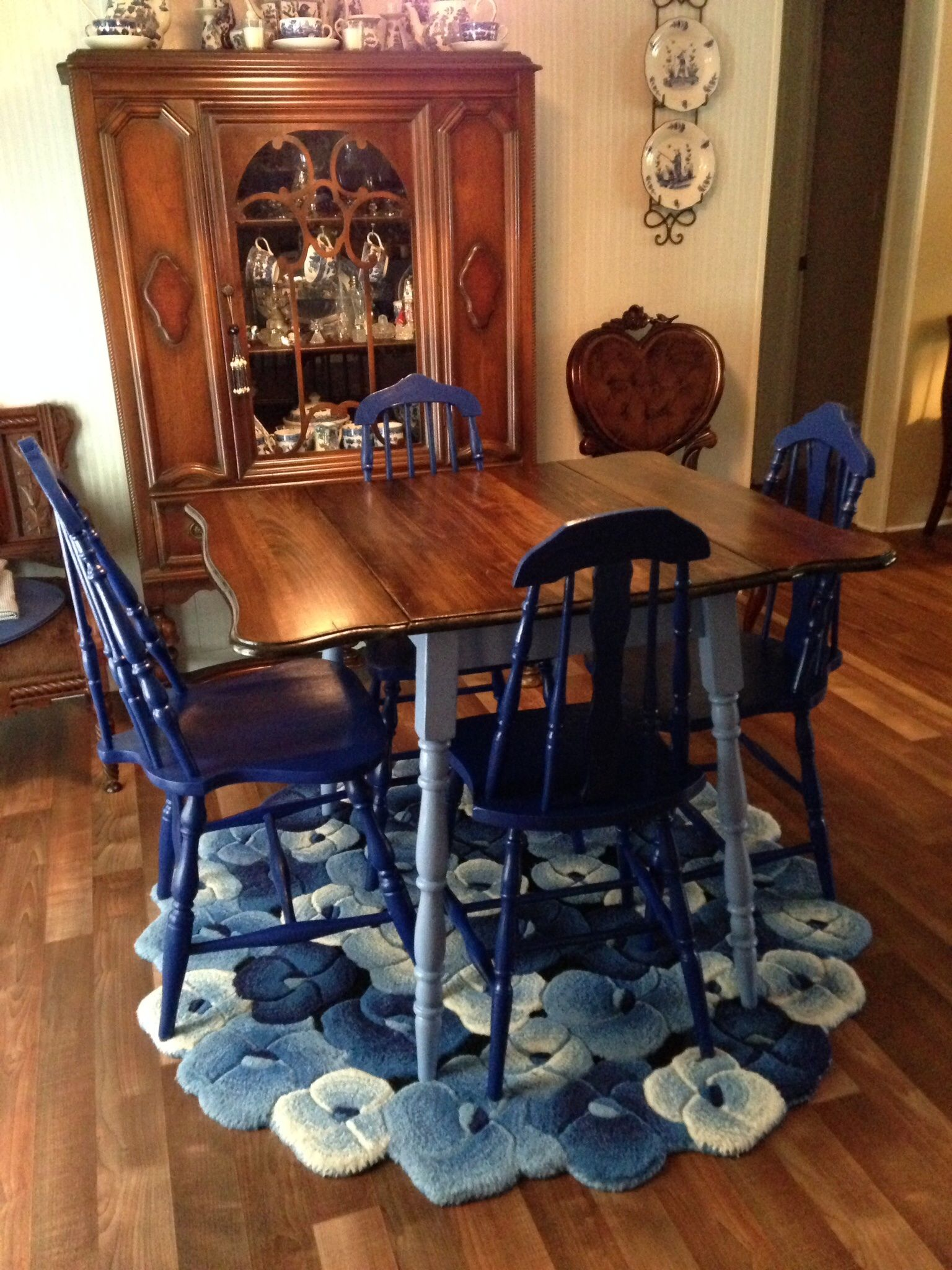 My Antique 1930 S Drop Leaf Table Chairs That I Refinished To Match My Blue Willow Dining Room Redo Furniture Refinished Table Blue Willow Dining Room