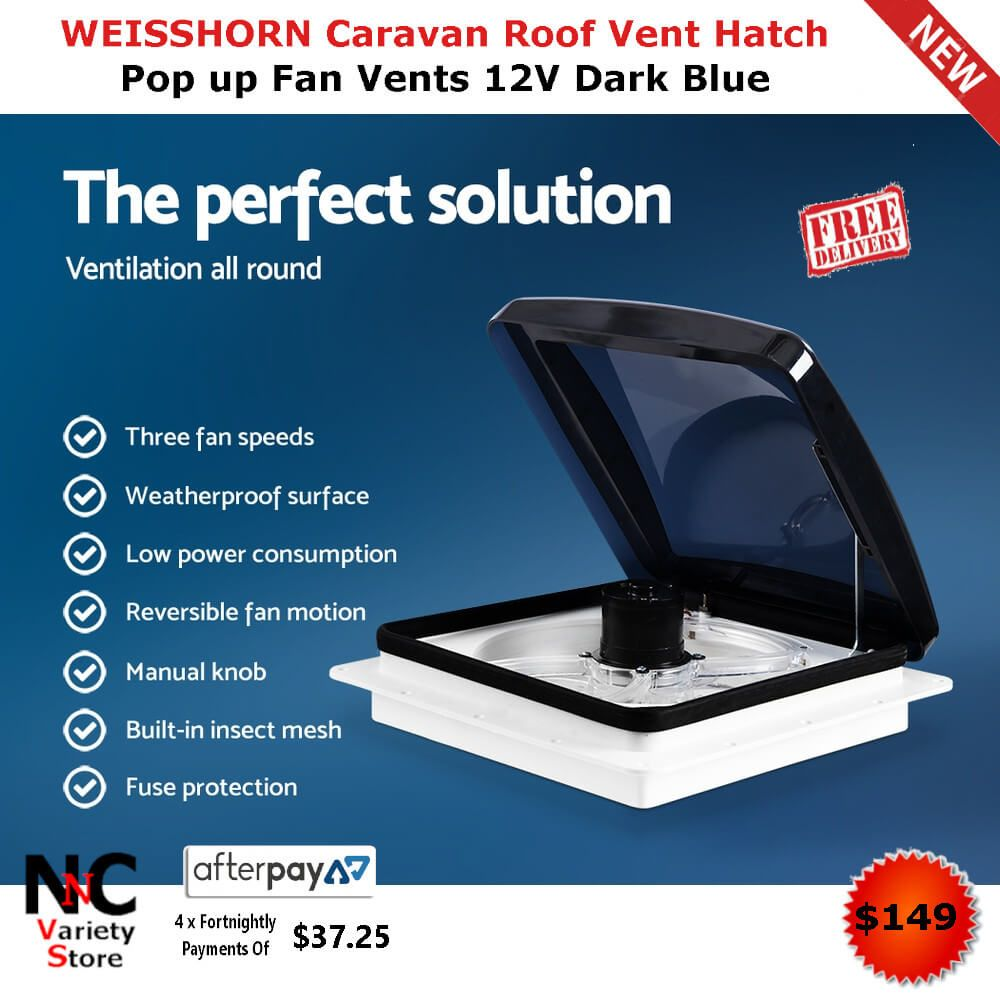 Weisshorn Caravan Roof Vent Hatch Pop Up Fan Vents 12v Dark Blue Fan Vent Roof Vents Fan Speed