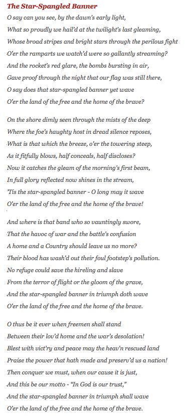 Text Of The Star Spangled Banner By Francis Scott Key