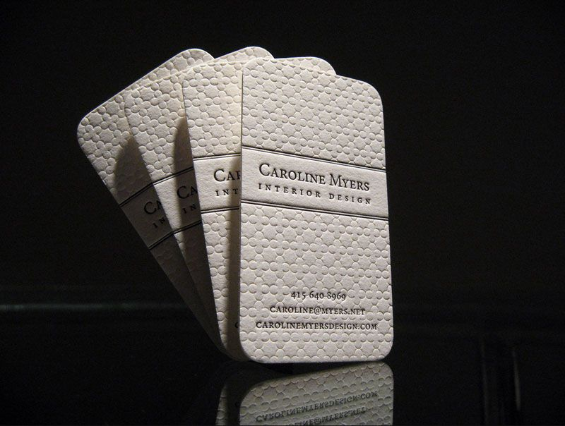 Amazing Classic Letterpress Business Card Sample With Rounded Corners Created On Textured Cotton Paper For Interior Designer