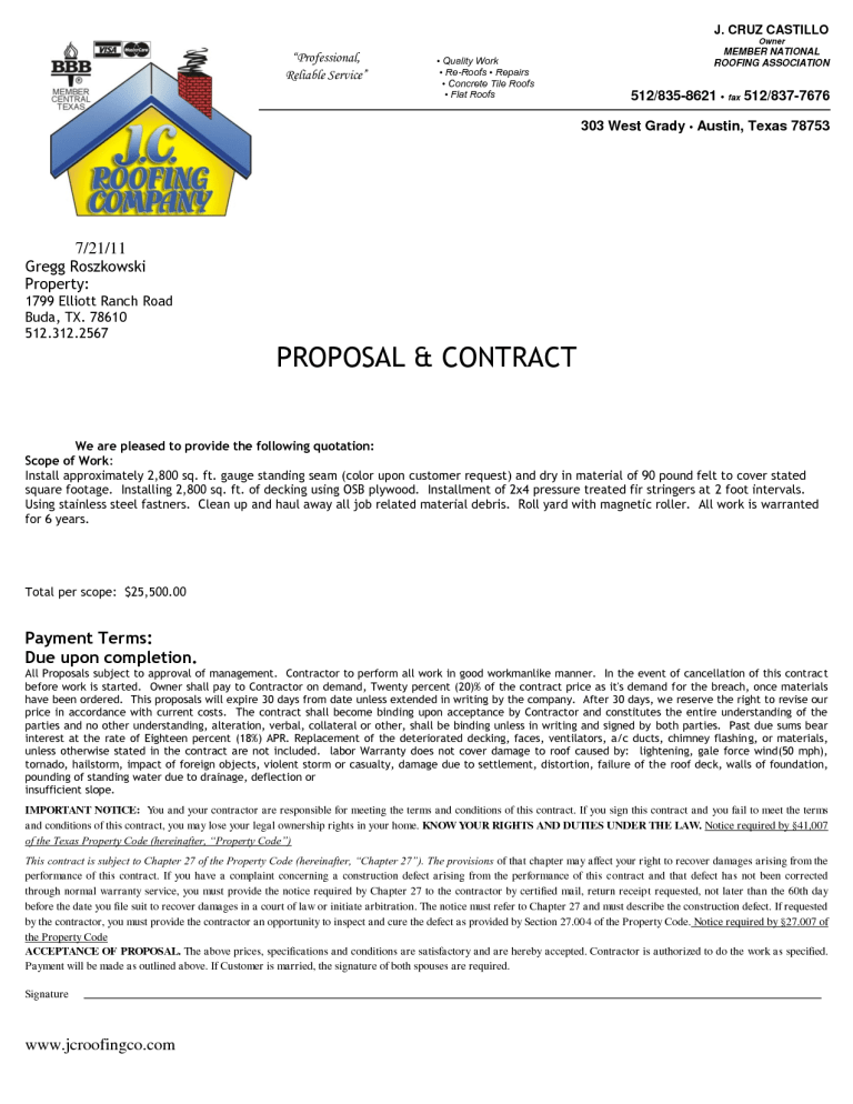 roofing contract template 1  | Templates | Construction