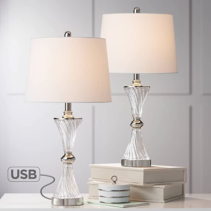 lucas modern table lamps set of 2 with usb charging port chrome and glass drum shade for living