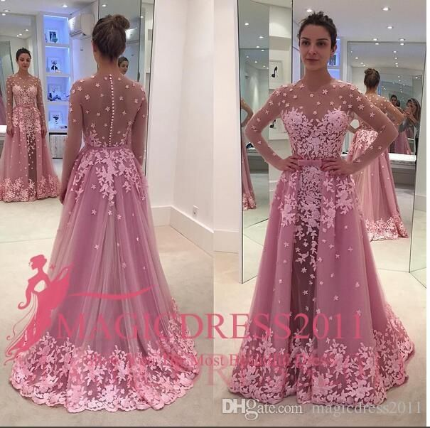 2016 Arabic Long Sleeve Evening Prom Dresses Said Mhamad Pink A-Line ...