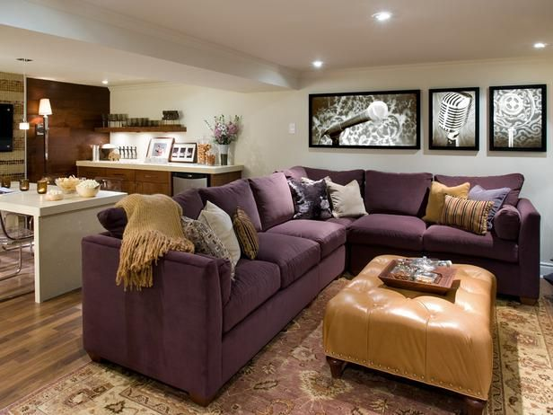 10 Basement Remodels And Renovations By Candice Olson Purple Living Room Cute Living Room Livingroom Layout Divine design basement family room