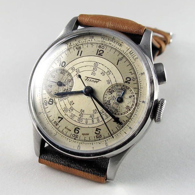 Steel Tissot vintage chronograph wristwatch, circa 1938 #vintagewatches