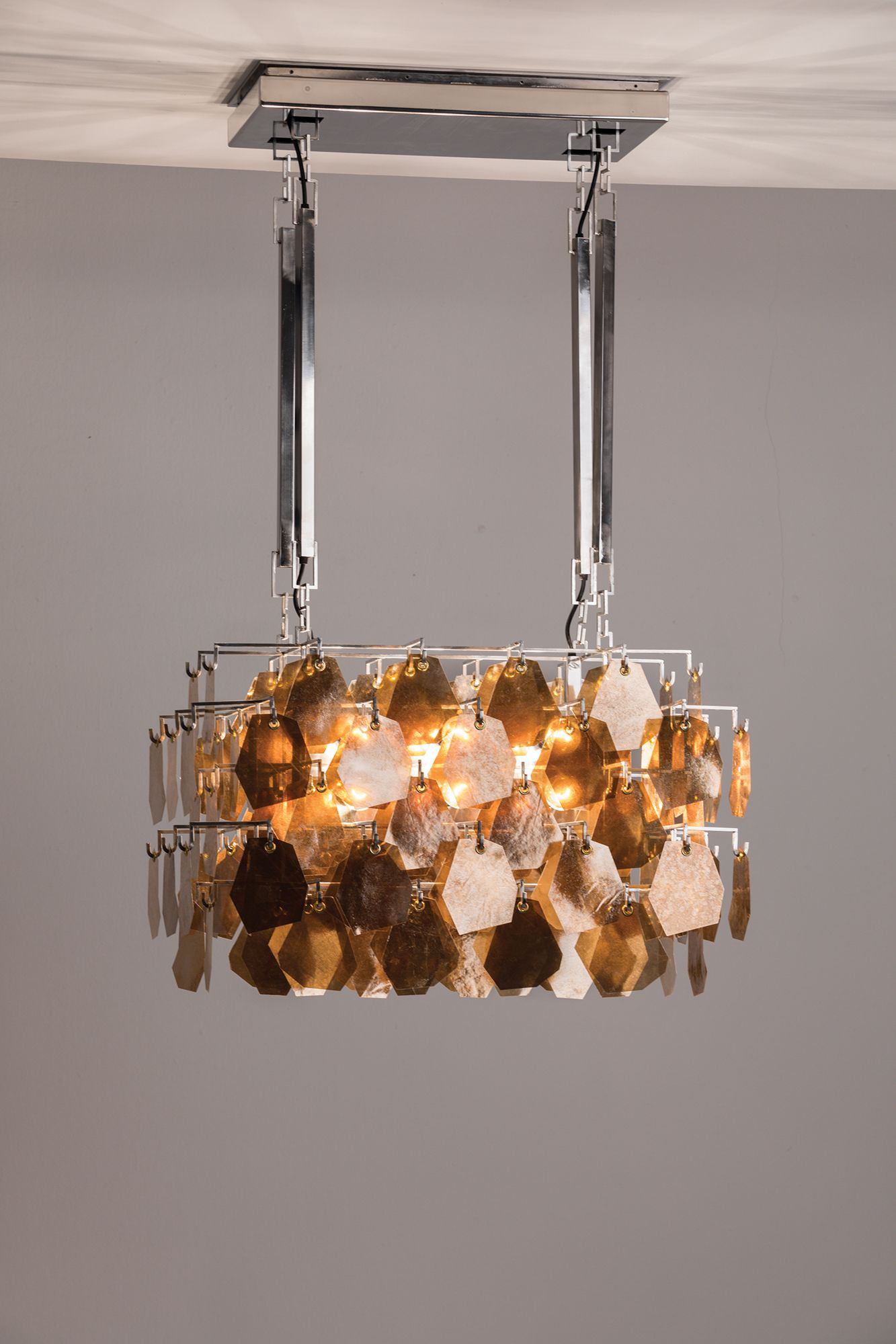 Sapuca chandelier in gold mica and stainless steel lighting sapuca chandelier in gold mica and stainless steel arubaitofo Gallery