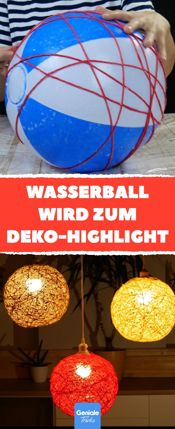 Mit Schnur umwickelter Wasserball wird Deko-Highlight.