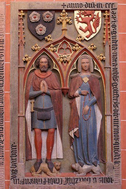 Frankfurt, Kaiserdom St. Bartholomäus, Grabmal von Johann und Gudula von Holzhausen (St. Bartholomew's Cathedral, epitaph), c. 1370