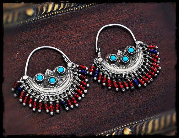 Antique Afghan Tribal Hoop Earrings by COSMIC NORBU on Etsy