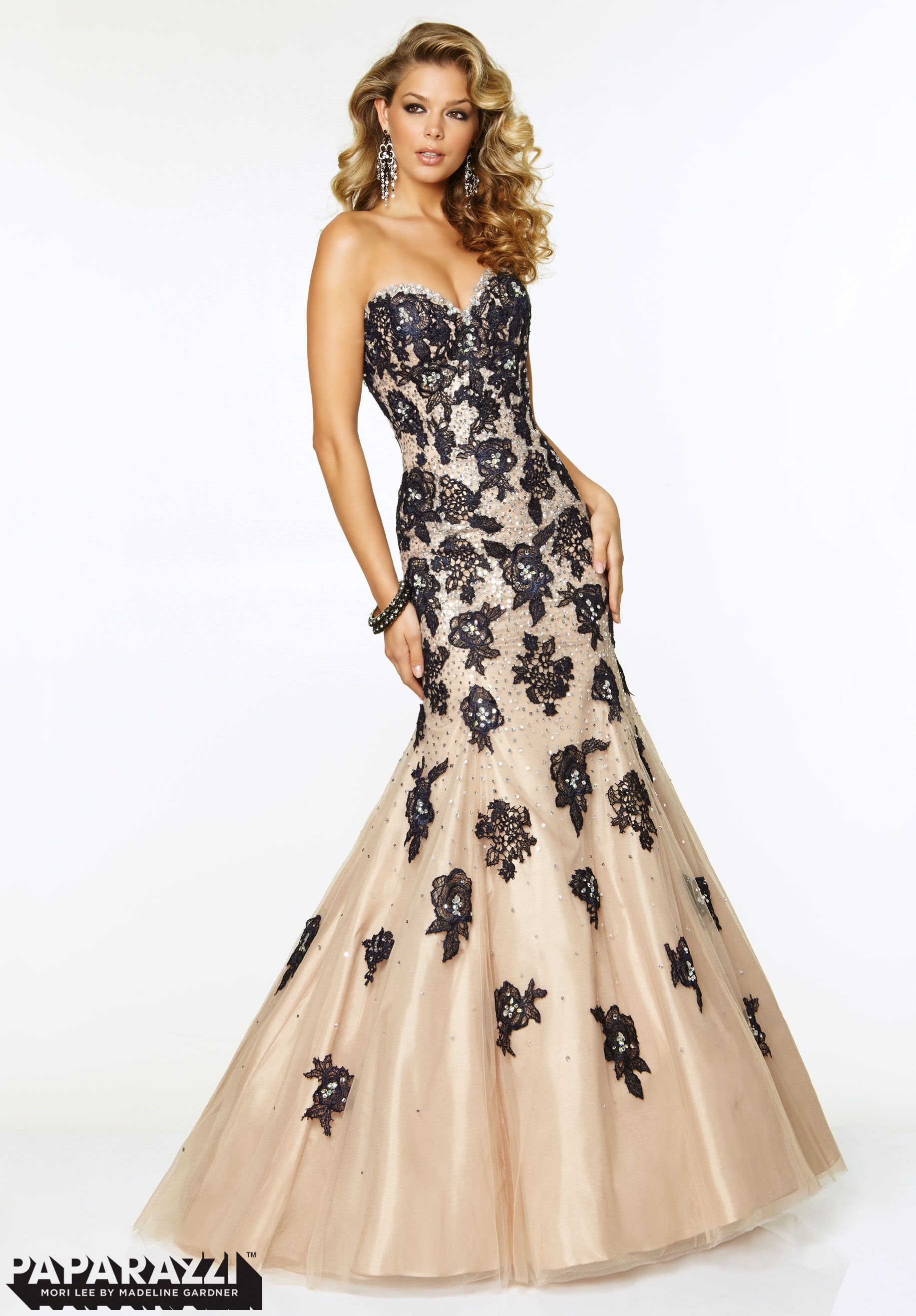 prom dresses gowns tulle with lace appliques and jeweled