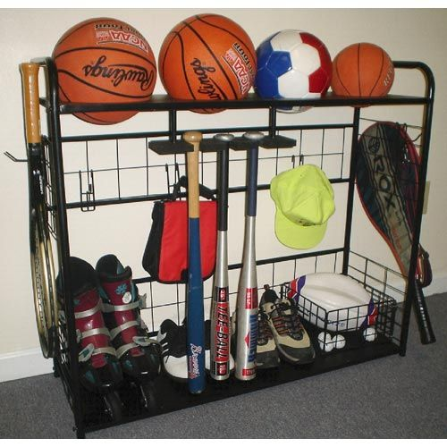 Sports Equipment Organizer Is A Freestanding Steel Wire Rack With Gridded Design And Nine Hooks From Which To Hang