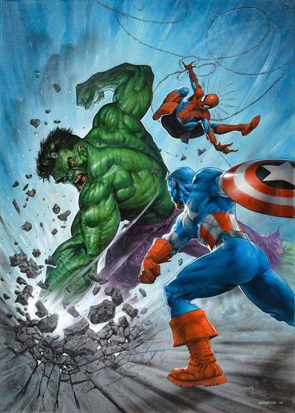 The Hulk vs Captain America and Spider-Man by Greg Staples