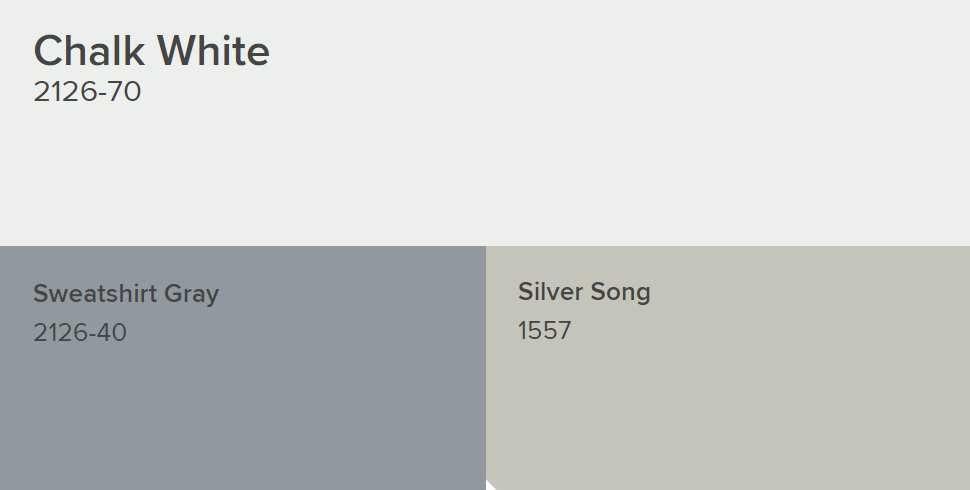 Benjamin Moore Chalk White Goes With Sweatshirt Gray And Silver Song