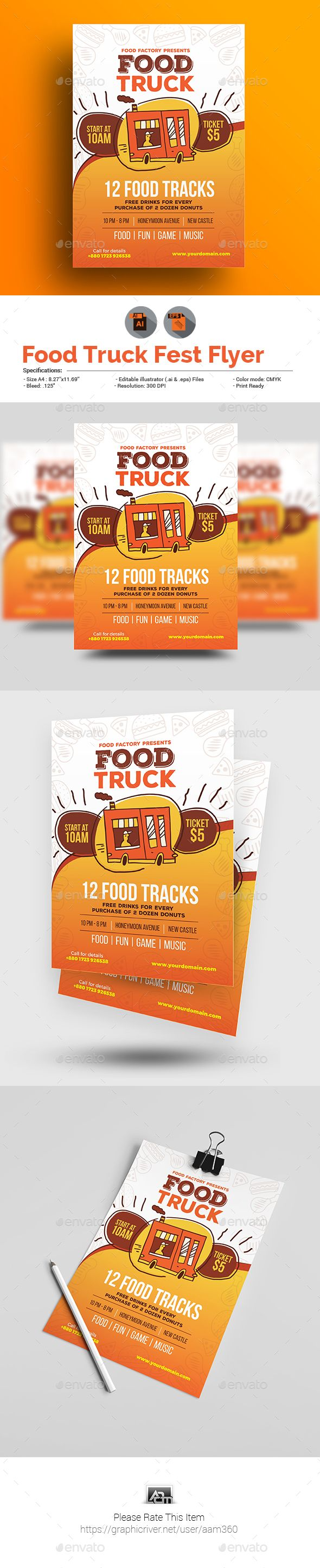 Food Truck Flyer Ai Illustrator Food Truck And Flyer Template - Food truck flyer template