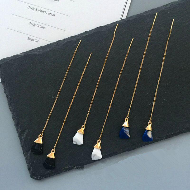 Modieuze vrouw kunstmatige yakeli het oppervlak stereo hanger lijn lange dangler oorbellen oorbellen populaire kerstcadeaus