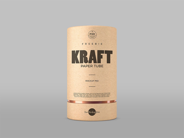 Free Kraft Paper Tube Mockup Psd Em 2020 Tubos Embalagens Ideias