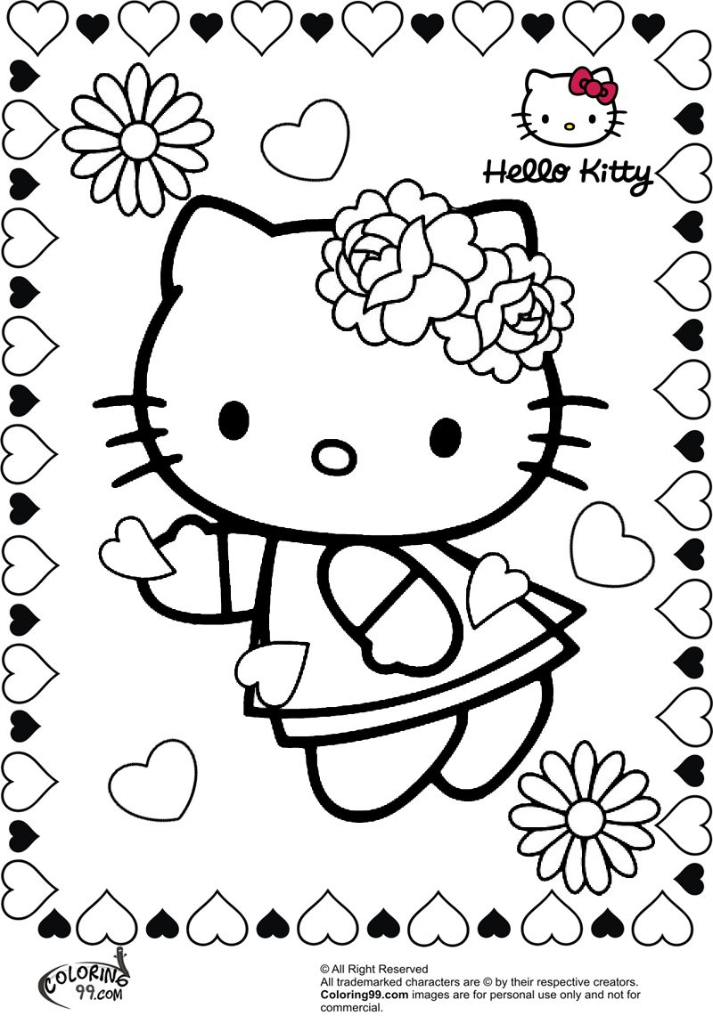 Hello Kitty Flower Valentine Coloring Pages Hello Kitty Coloring